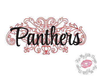 Panthers Damask Machine Embroidery Design
