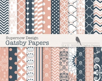 """FREE COMMERICAL use 40% Off Digital Scrapbooking Printable Pattern Papers. """"Gatsby Papers"""". Salmon Pink Navy Blue, Cardmaking,"""