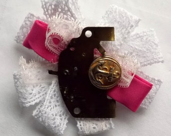 Handmade Vintage inspired Ladies Lace, Ribbon, Button & clock part Steampunk Rosette Brooch
