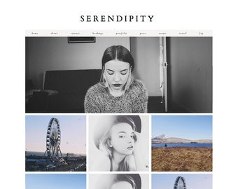 "Blogger Template ""Serendipity"" / Instant Digital Download Premade Photography Blog Theme Design"