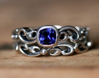 Blue sapphire engagement ring set - recycled sterling silver - unique wedding rings - Chatham created sapphire - custom - Water swirl