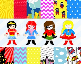 50% OFF SALE Superhero Girl Clipart / Super Girl Party / Cute Superhero Girls / Personal and Commercial Use / Item Number: HP-04