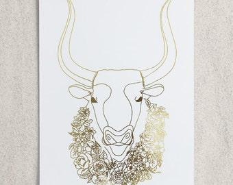 Zodiac - Taurus Bull Foil Print