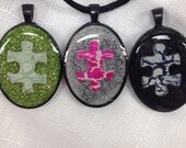Autism necklace - autism jewelry free shiping hand painted with glitter background awareness necklace . By Geneva's Sky