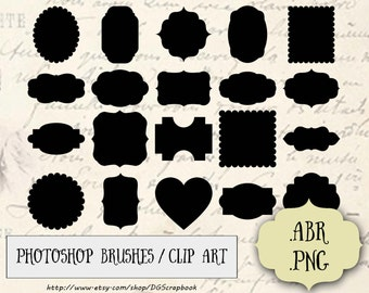 Frames Photoshop Brushes & Digital PNG Clipart - 20 High quality Fancy Scalloped Frames Labels Tags Clip Art - Commercial and Personal Use