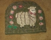 Dolly Sheep tea cozy rug hooking pattern