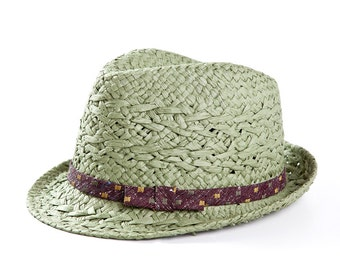 Light green fedora hat , Sun hats for women , decorated with a satin band & a bow.