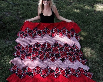 Arkansas Razorbacks Zig Zag Rag Quilt Throw, U of A Rag Quilt, Hogs Throw Rag Quilt, Razorback Rag Quilt