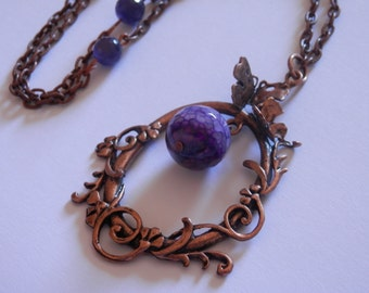 Butterfly Necklace and purple agate