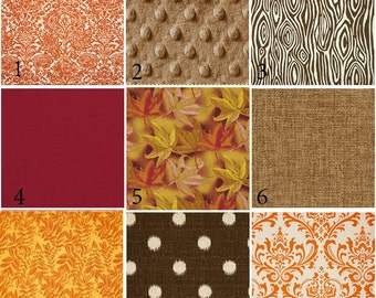 Custom 2 or 3 piece Crib Bedding - Warm Fall Autumn Minky Burlap