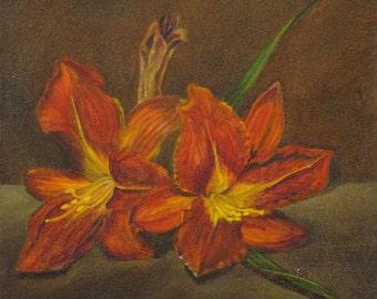 Original Oil painting Red Lilies handmade