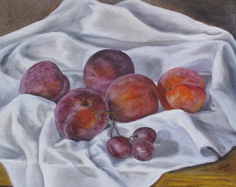 Original Oil painting still life handmade Plums and Grapes