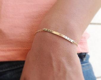 Gold bar bracelet,Name plate bracelet,Personalized bracelet,Engraved Bracelet,bridesmaid Gift,Initial Personalized Bracelet,gold filled-B002