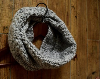 Hand knit snood or cowl,soft and warm winter accessory in grey, knit snood, grey knit cowl