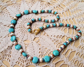 Unique Howlite Turquoise Beads and Fresh Water Pearl Necklace