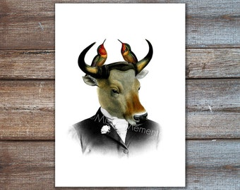 animal portrait - animal in suit, banteng with hummingbirds - hummingbird art print