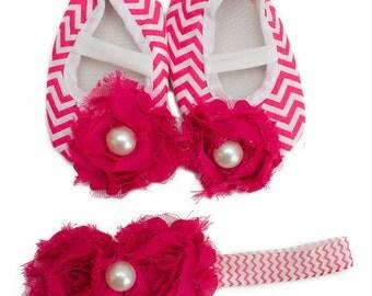 Baby Girl's Valentines Hot Pink Chevron Crib Shoes And Matching Headband Set