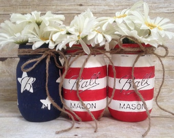 Patriotic American Flag Painted Mason Jars