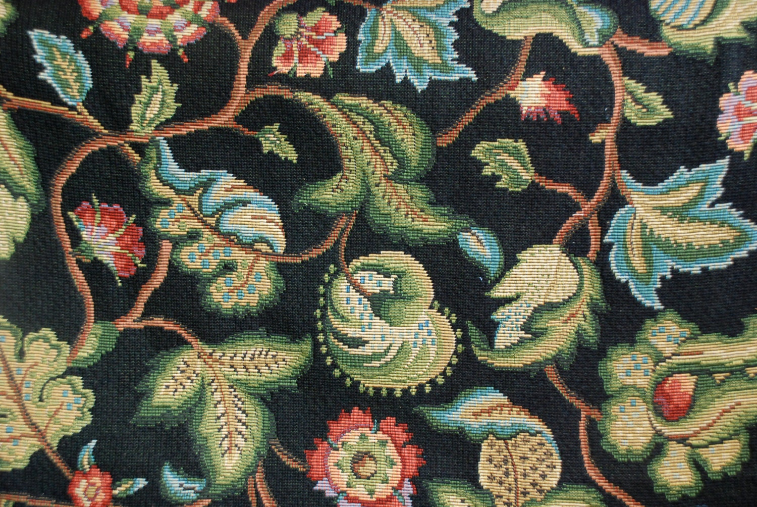 Ebony Floral Tapestry Fabric Black Heavy Upholstery Fabric