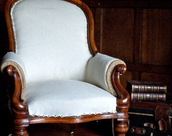Mahogany framed Victorian Armchair to be Upholstered to Order.