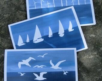Set of 3 Noordzee Note Cards, 4x6