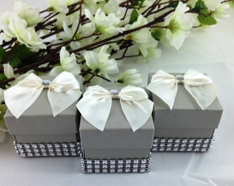 20 Pearl Silver Favor Boxes, Candy Holder, Gift Box, Wedding, Bridal Shower, Party