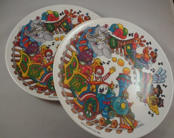 McDonald's Collectible Plates l985  SET of TWO (2) Happy Meal Premiums McDonald's Toys Vintage Ronald McDonald Hamburglar Dishes