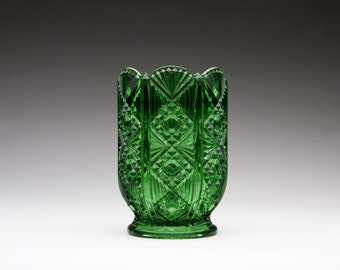 "EAPG ""Diamond and Flute"" emerald green glass celery vase"
