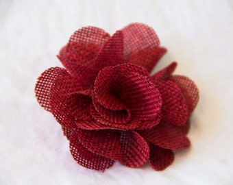Flower Lapel Pin, Mens Flower Lapel, Flower Boutonniere, Red Flower Lapel, Red Boutonniere, Linen Flower Lapel