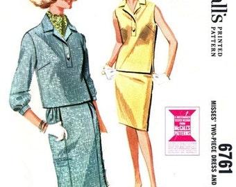 McCall's 6761 Star Quality Two-Piece Dress & Scarf  1963 / SZ12 UNCUT