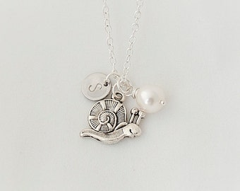 Personalized Initial Snail Necklace, Swarovski Pearl Necklace