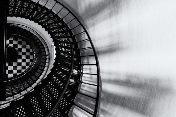 Lighthouse Stairs - Black-and-White, Photographic Print, Bodie Island Light, Outer Banks, North Carolina, Patterns