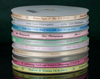 Personalized printed Ribbon  3/8 x 54 yards for wedding favours Invitations and gift packaging 10mm x 50 metres