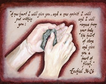 Biblical Art - Poster Print - Heart of Flesh Painting