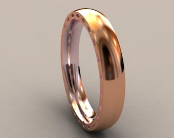 Rose Gold 4mm Mens Wedding Band with Side Design, Classic Thin 14kt Pink Gold Wedding Ring, Hipster Ring, Mens Wedding Ring