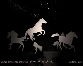 Silhouette Horses Vector Collection