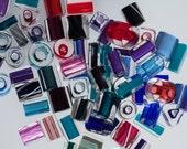 Furnace Cane Glass Beads - Red Glass Beads, Blue Glass Beads, Green Glass Beads, Aqua Glass Beads, Teal, Pink, Purple - 1 oz - Bead Destash