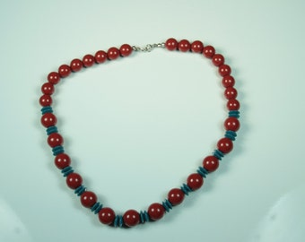 Brick and Blue Beaded Necklace