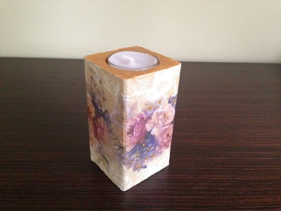 Decoupage Decorated Wooden Candle Holder I Remember