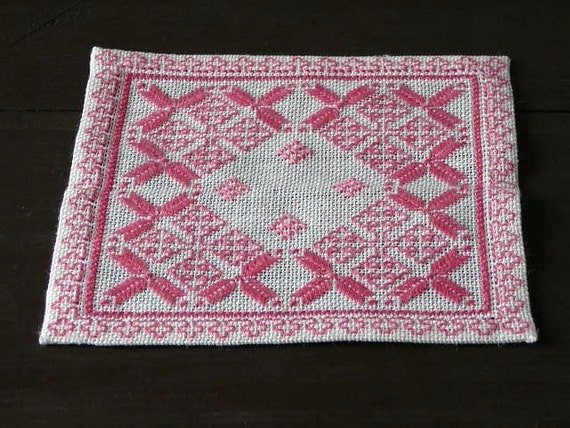 Pink Table Cloth : Embroidered Small White Pink Table Cloth Swedish Table Decor ...