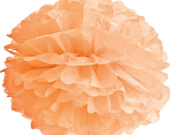 "14 inch peach, light orange coral tissue pom pom - 14"" pompom"