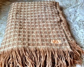 Pendleton Fringed Wool Blanket , Peachy Taupe and Ivory
