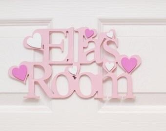 Bedroom Door Sign or plaque, PINK, Baby, GIRLS, Wooden - Stars, Hearts, Butterflies. Perfect Nursery decor, children. UK Gift