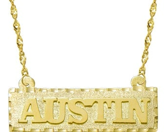 14K Yellow Gold Personalized Name Plate Necklace - Customize Any Name