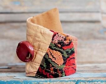 Boho Chic, Color Bracelet, Gypsy Braceltes, Chic Jewelry, Textile Jewelry, Eco Friendly Jewelry, Wrist Cuff, Shabby cuff, Bohemian Jewelry
