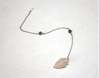 Crystal Pendulum - Patient Love - Rose Quartz and Dumortierite Pendulum for energy work or divination
