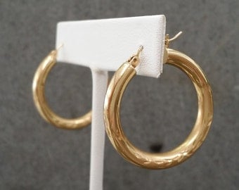 14 Karat Yellow Gold Engraved Hoop Earrings