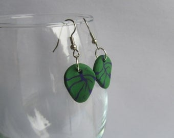 Green Leaf With Purple Veins Polymer Clay Earrings with Surgical Steel Hooks
