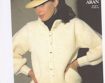 Copy of Ladies Aran Jacket Knitting Pattern, Aran Wool Knitting, Ladies Wool Jacket, Ladies Knitting Pattern. Copy of pattern only