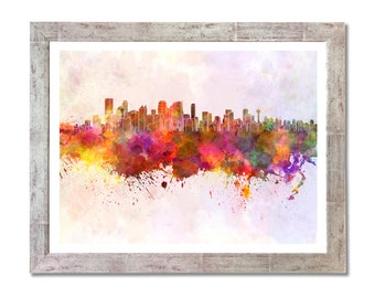 Calgary skyline in watercolor background- SKU 0137